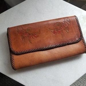 Vintage tooled floral leather envelope clutch